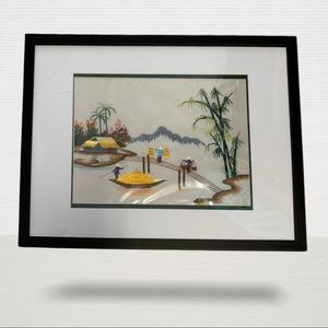 Vietnam Asian Row Boat River Embroidery Scenery